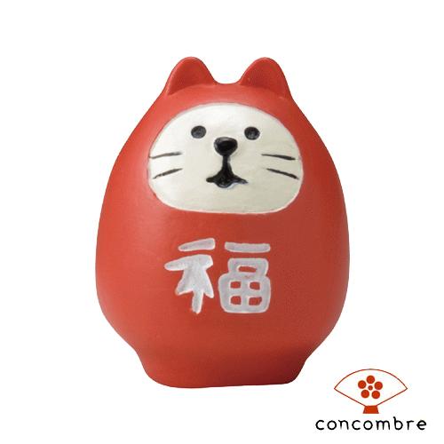 【新年限定版】Decole 日本開運小物 / 公仔 / 擺設 / 攝影道具 - Concombre 紅色達摩三毛貓 ( ZCB-40785 )