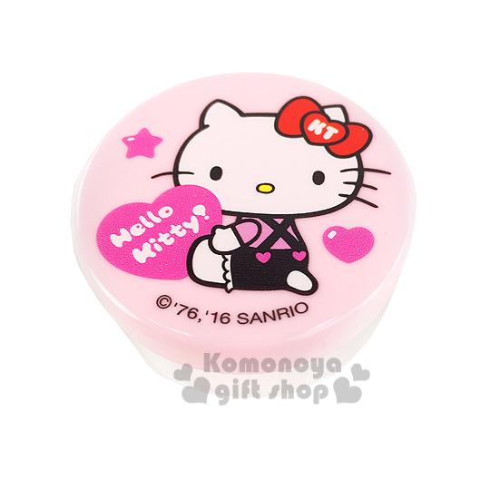 〔小禮堂〕Hello Kitty 乳液盒《30g.透明.粉.坐姿.拿愛心.吊帶褲》平日旅行皆適用