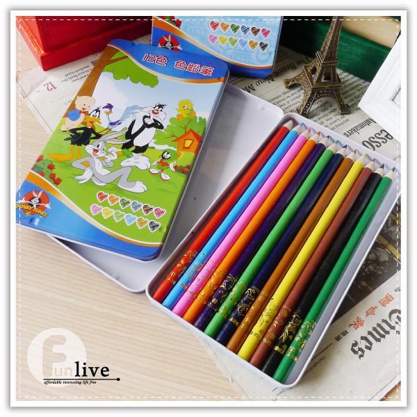 【aife life】華納卡通12色鉛筆-鐵盒/彩色鉛筆/彩虹筆/塗鴉/重點筆/彩色筆/正版授權/繪圖 畫畫用具