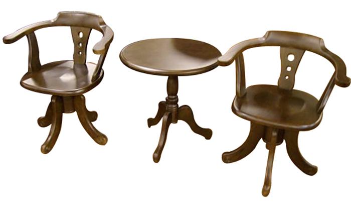 【尚品傢俱】629-23胡桃色實木房間椅組/公婆椅~椅子可旋轉 《台中市部分免運》
