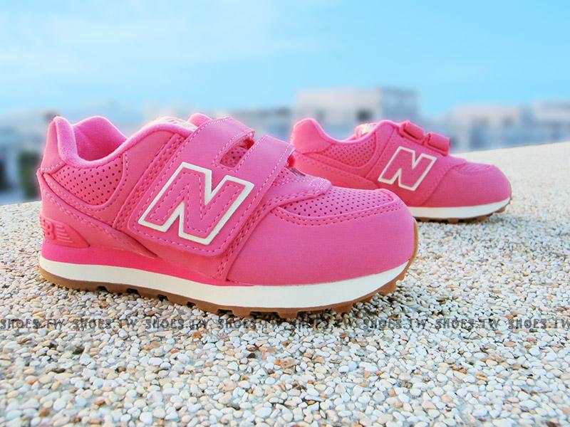 Shoestw【KV574HKI】NEW BALANCE 574 童鞋 運動鞋 小童 草莓粉紅白