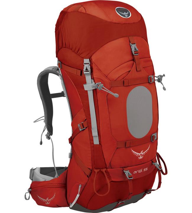 【鄉野情戶外專業】 Osprey  美國  Ariel 55 登山背包 女款/重裝背包 自助旅行/Ariel55 【容量55L】-硃砂紅S