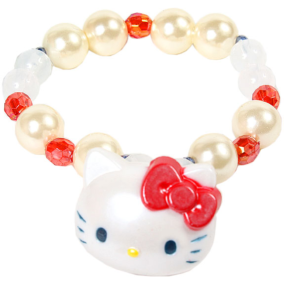 【真愛日本】16042800035串珠手環-KT大頭紅結白   三麗鷗 Hello Kitty 凱蒂貓 手飾 飾品 正品  限量