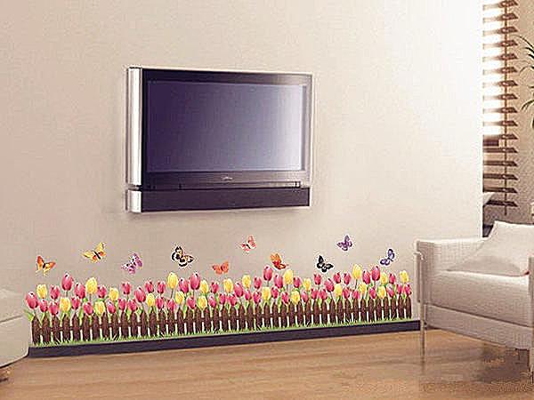 BO雜貨【YV2880】可移動 時尚組合壁貼 牆貼 壁貼紙 創意璧貼 花 花園 鬱金香花圃
