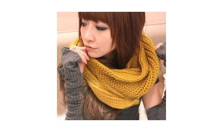 韓版圍脖式粗針織套頭脖圍巾(顏色隨機出貨)(現貨+預購)