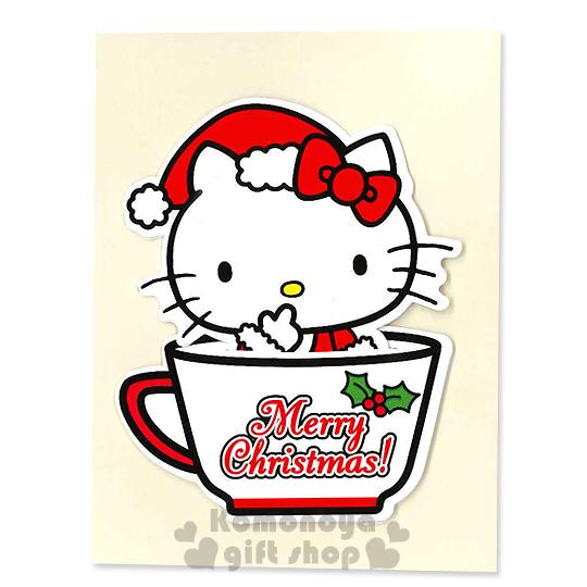 〔小禮堂〕Hello Kitty 造型聖誕卡片《S.白.坐咖啡杯裡.聖誕裝》附信封