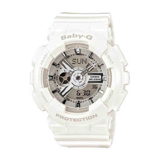 CASIO BABY-G BA-110-7A3純白女孩雙顯流行腕錶/白面43.4mm