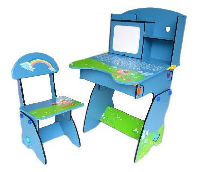 @小櫻桃嬰兒用品@kikimmy--歐風成長學習桌 兒童書桌椅 藍色