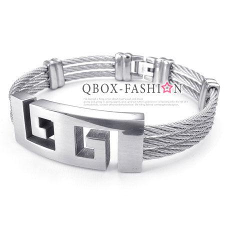 《QBOX 》FASHION 飾品【W10024489】精緻個性中國圖騰鏤空盾面鋼絲316L鈦鋼手鍊/手環