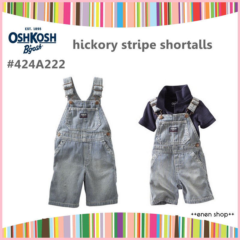 ++enen shop++ OshKosh B'gosh 條紋牛仔吊帶短褲 ∥ 12M/24M