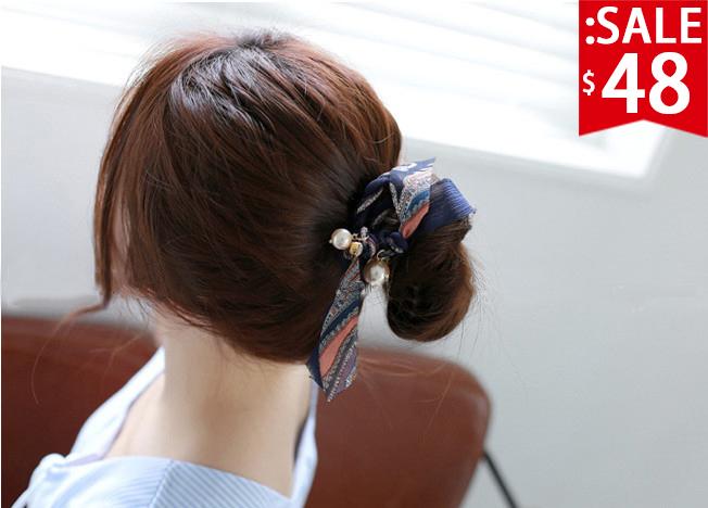 ❤原價96五折48❤碎花盤髮飄帶珍珠髮飾   包頭盤髮必備   氣質加分款【SM703HA】