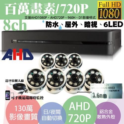 屏東監視器/百萬畫素1080P主機 AHD/套裝DIY/8ch監視器/130萬半球攝影機720P*7支