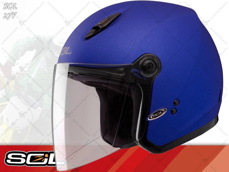 SOL安全帽|27Y 素 消光藍【小頭圍.女生】 半罩帽 『耀瑪騎士生活機車部品』
