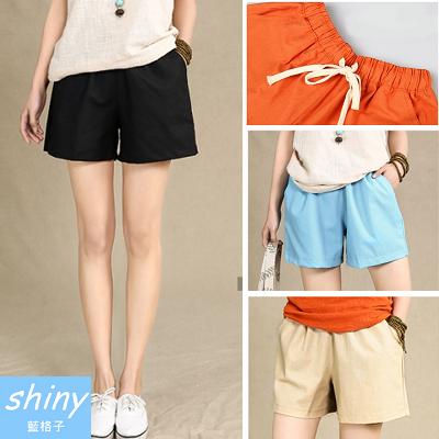 【A2077】shiny藍格子-視覺人氣.夏季棉麻沙灘休閒寬鬆短褲