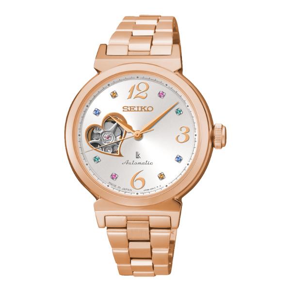 Seiko Lukia 4R38-00N0L(SSA888J1)玫瑰金蜜糖甜心鏤空機械腕錶/白面34mm