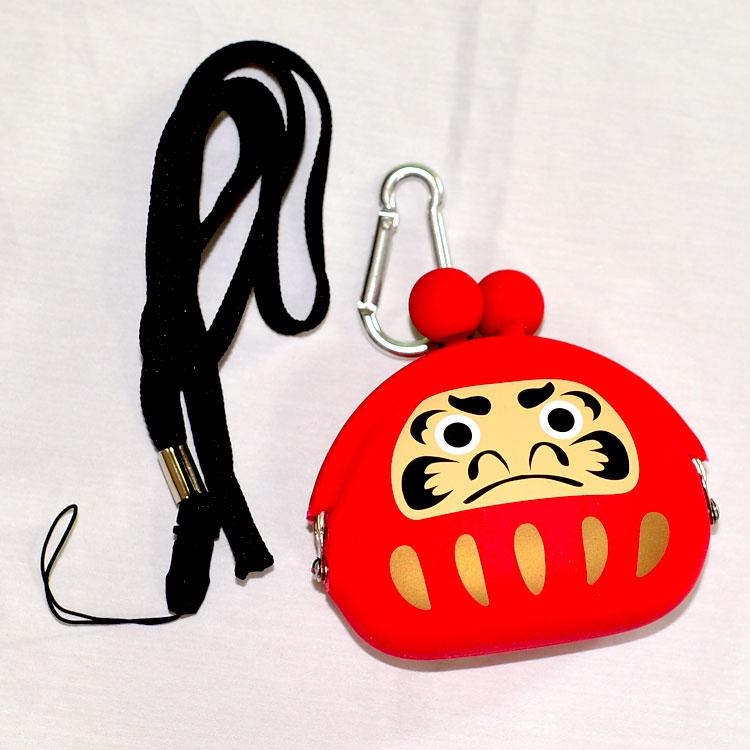 日本達摩不倒翁 矽膠零錢包 附掛繩及掛扣 mimi POCHI p+g design