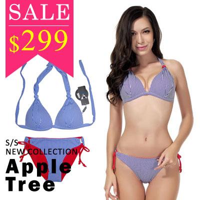 ★出清特價299★AppleTree日韓-海軍風藍條紋串珠2件套比基尼泳裝【503048】