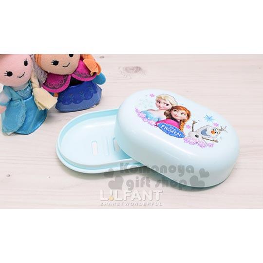 〔小禮堂韓國館〕冰雪奇緣 附蓋肥皂盒《淺藍.雪花.姊妹.雪寶》美化浴室空間
