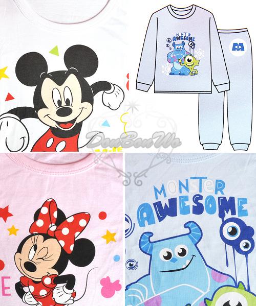 迪士尼米奇米妮毛怪大眼仔兒童長袖衛生衣睡衣長褲兩件組多尺寸103880海渡