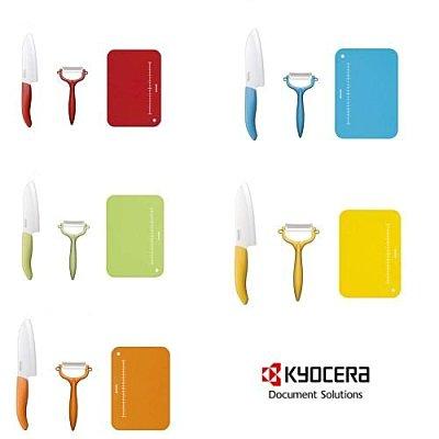 *KYOCERA*日本原裝進口 彩色 京瓷陶瓷 日本 KYOCERA 陶瓷刀3件組(含14cm陶瓷刀、陶瓷削皮刀、抗菌砧板)五色可供選擇
