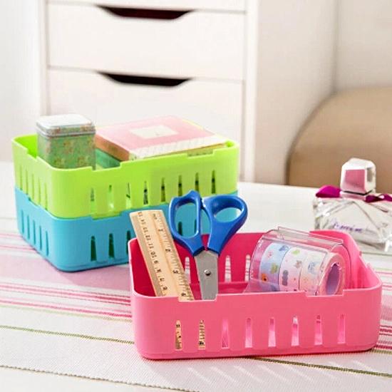 ♚MY COLOR♚卡扣式桌面置物籃(小) 抽屜 疊加 收納 整理 分類 冰箱 廚房 客廳 書桌 辦公【G37】