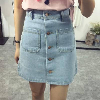 PS Mall 韓版素面牛仔單排扣高腰短裙 A字裙 裙子 牛仔裙 【T1614】