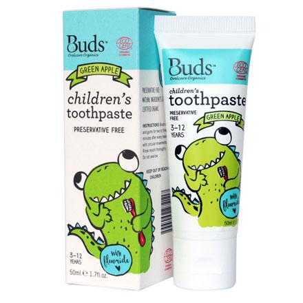 【悅兒園婦幼生活館】Buds 芽芽有機 兒童含氟牙膏-青蘋果50ml (3-12歲)