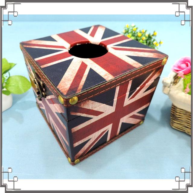 木製皮革方形面紙盒《LC2》英國國旗貼皮紙巾盒 收納盒 居家布置◤彩虹森林◥
