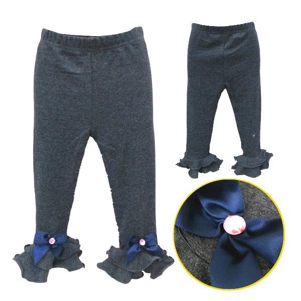 【班比納精品童裝】彈力內磨毛下波浪造型蝴蝶結內搭褲-鐵灰/黑-兩色可選【BM150826025/26】