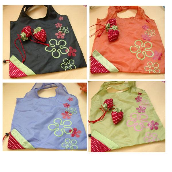 折疊式環保草莓購物袋 不挑色 防水材質 摺疊收納不佔空間 可超取【特價】§異國精品§