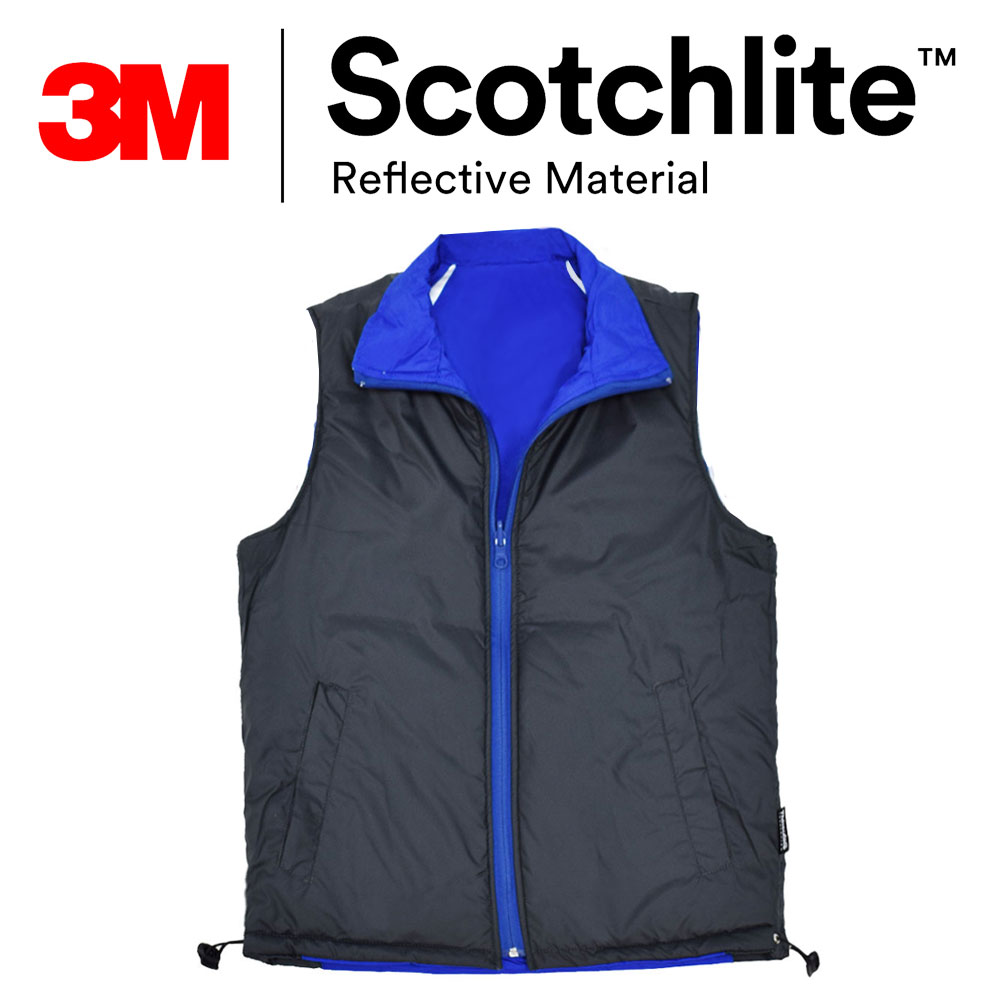【safetylite安心生活館】《滿899免運、滿千贈禮》》正反二穿反光防水修身羅紋雙面鋪棉保暖背心(可團購)-3M Scotchlite™