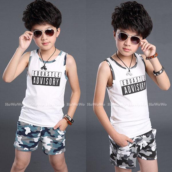 中大童短袖套裝 字母上衣背心+迷彩短褲二件式 FM0229