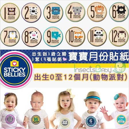 +蟲寶寶+【美國Sticky Bellies  】新生寶寶創意好禮-寶寶月份貼紙0-12M-(動物派對)《現+預》
