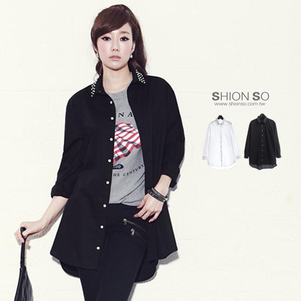 享瘦衣舍大小尺碼【B1187】韓系時尚領口鉚釘設計長版襯衫