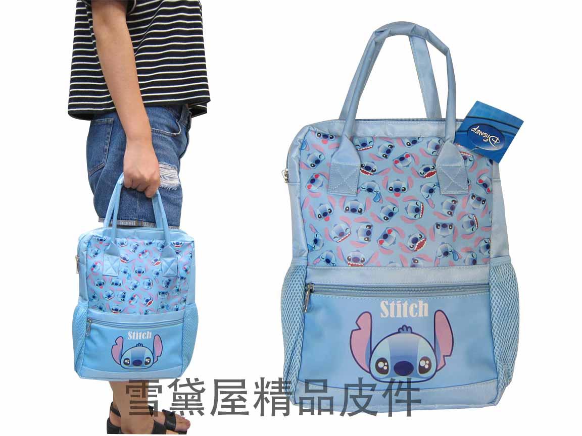 ~雪黛屋~史迪奇 提袋可A4紙大容量餐袋小容量才藝袋手提袋簡單袋上學書包以外放置教具品雨衣傘便當袋TH299