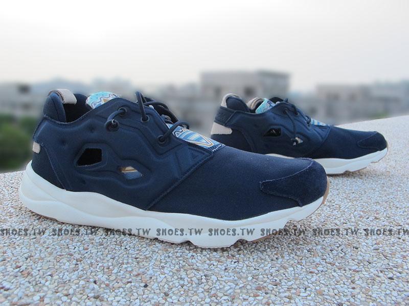 Shoestw【V67073】Reebok FuryLite GP 民族風 圖騰 藍色 PUMP 襪套 男生