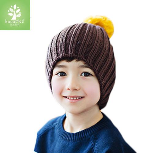 WallFree窩自在★秋冬簡約氣質純色糖果色立體大毛球兒童保暖毛線帽-咖啡