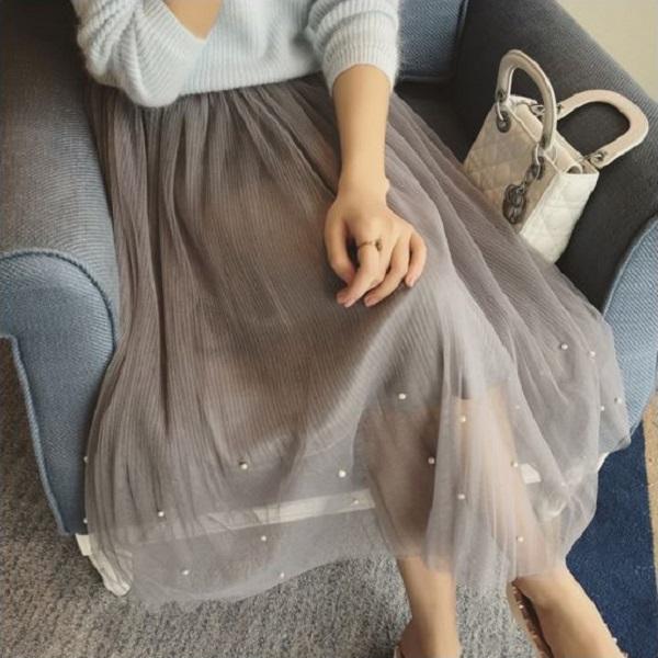 PS Mall 韓版顯瘦珍珠裝飾鬆緊腰半身紗裙 長裙 蓬蓬裙【T332】