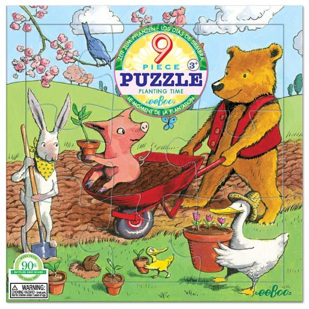 [ eeBoo ]  拼圖 —  開心農場 9片  (Planting Time 9 Piece Puzzle)
