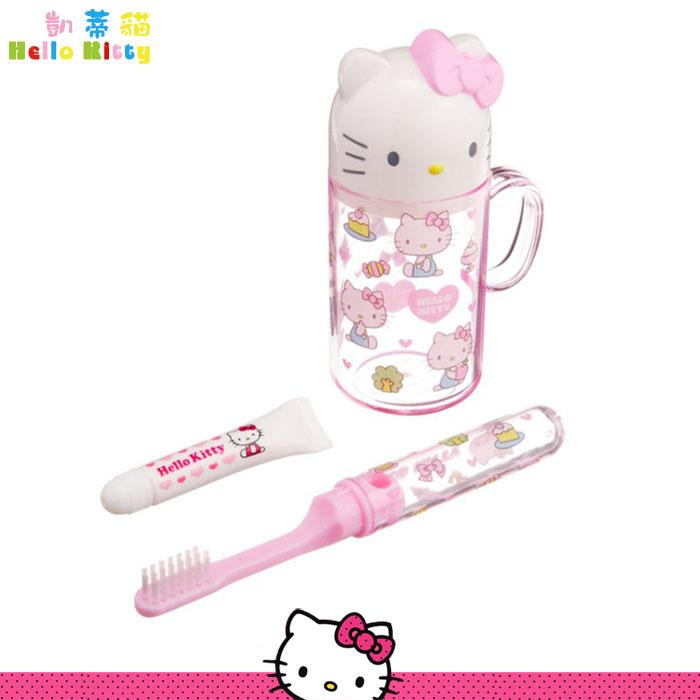 大田倉 日本進口正版Hello Kitty 凱蒂貓旅行盥洗套裝組合 水杯 牙刷 旅行組洗漱用品 106570