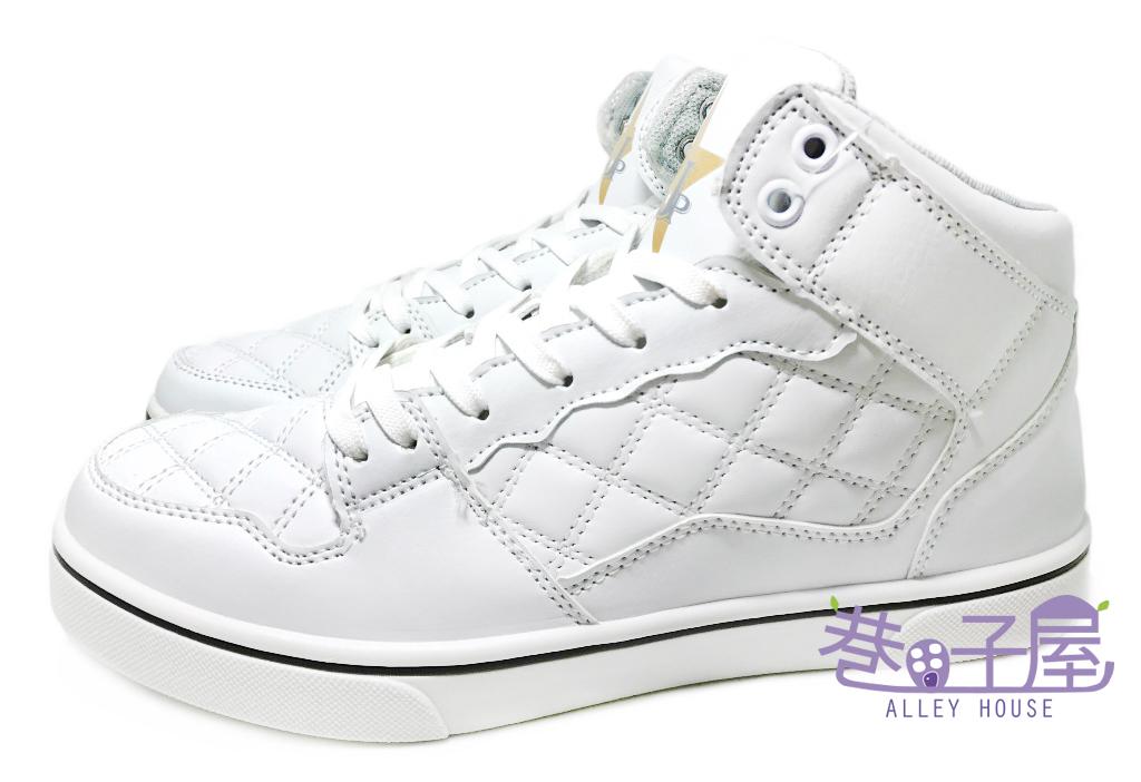 【巷子屋】JIMMY POLO 男款菱紋高統運動休閒鞋 [37064] 白 MIT台灣製造 超值價$250