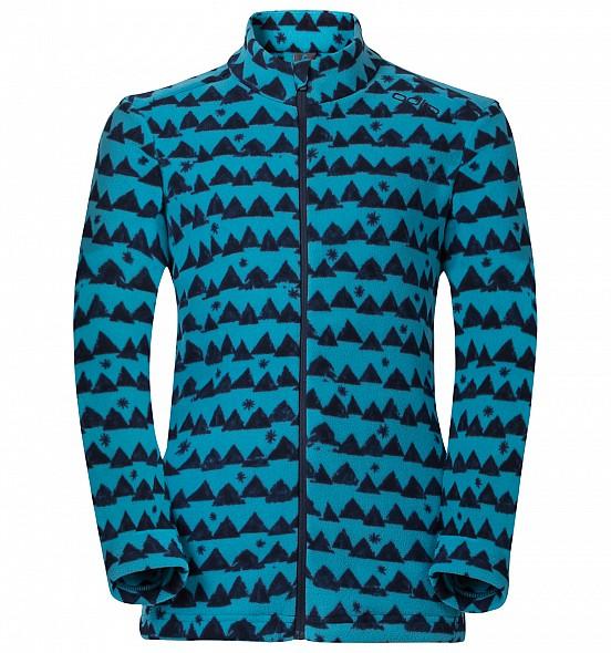 ├登山樂┤瑞士ODLO 兒童 夾克 立領保暖刷毛側拉鍊袋 戶外保暖 青藍 # 260829-70436