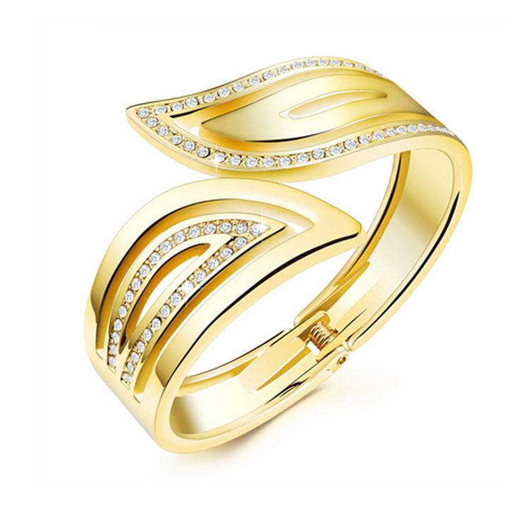 最新款時尚精美典雅鑲鑽開口造型女款銅鍍18K金手環