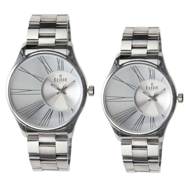 CLOIE 魅力風暴偏心不鏽鋼時尚腕錶-銀白 42mm/35mm 男女對錶
