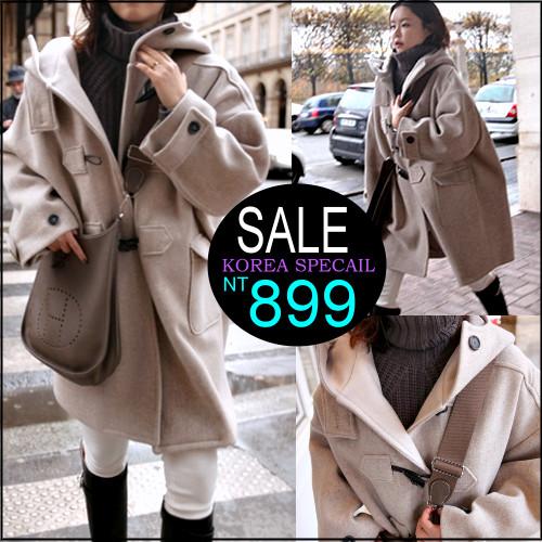 ☆克妹☆現貨+預購【ZT32823】歐美時尚高檔牛角釦寬鬆長版厚羊毛尼連帽長大衣