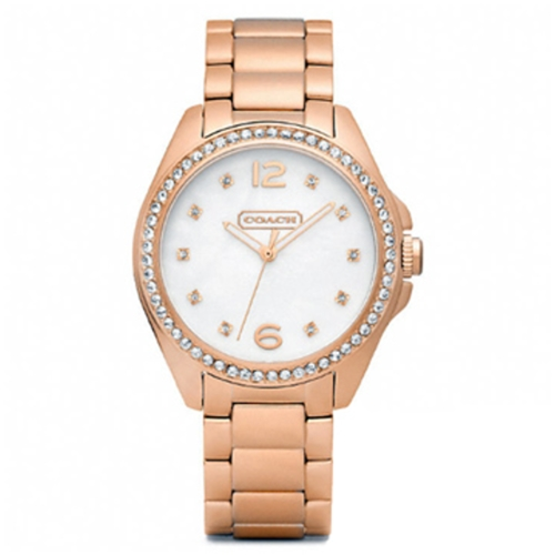 COACH 繽粉晶鑽白貝玫瑰金女錶 32mm14501658
