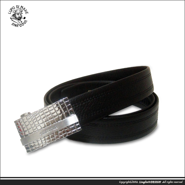 【SINA COVA】老船長亮銀塊紋紳士自動扣皮帶SC11506-1