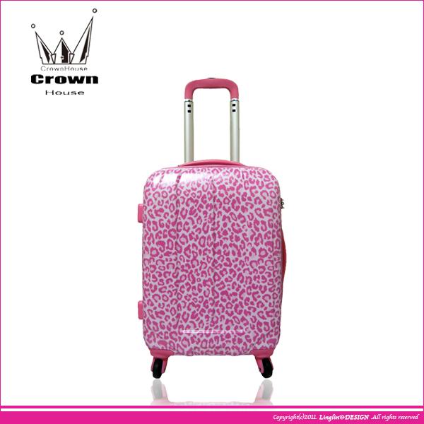 【Crown House】20吋 時尚粉紅豹紋海關鎖拉桿PC箱/行李箱