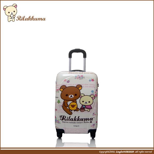 【Rilakkuma】20吋 輕量可愛花朵拉拉熊海關鎖拉桿登機箱/行李箱Z9035