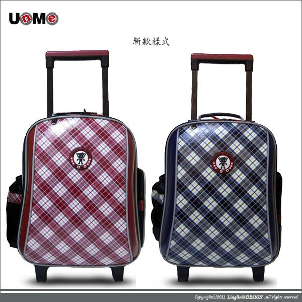 UnMe 兒童造型格紋拉桿背包/小學生後背書包3328